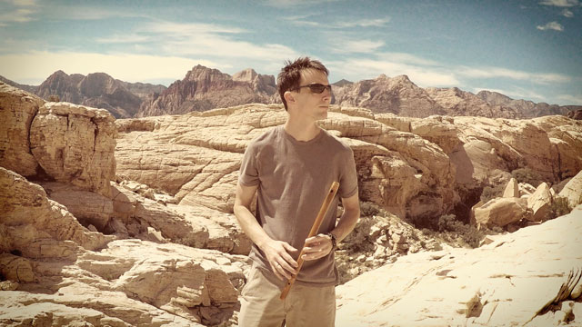 Michael with flute at Red Rock Canyon